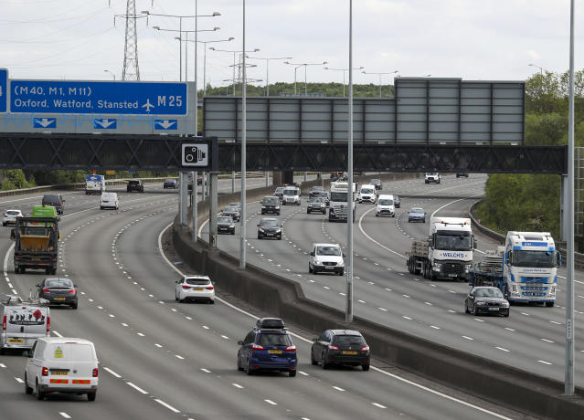 Congestion on major roads such as the M25 was reported for the first time this week, since the UK lockdown came into effect on 23 March. (PA)