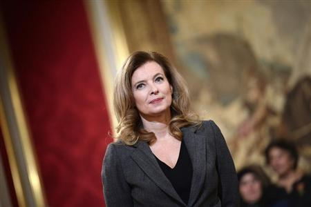 Valerie Trierweiler, companion of French President Hollande, attends a ceremony for recipents of the Family Medal award at the Elysee Palace in Paris