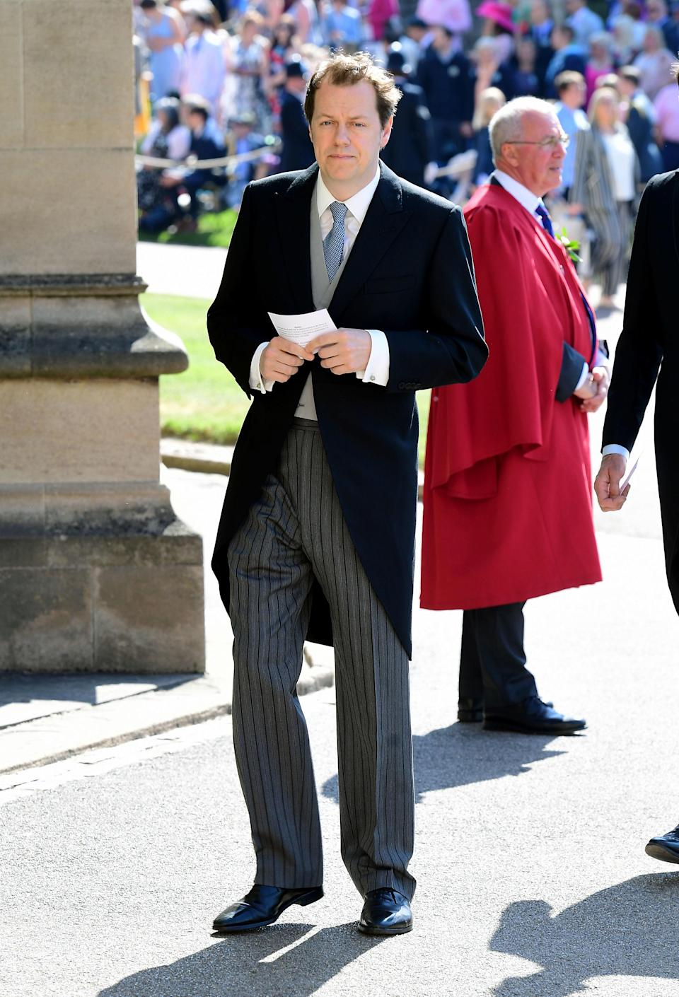 <p>The Duchess of Cornwall's son arrives at the royal wedding. <em>[Photo: PA]</em> </p>