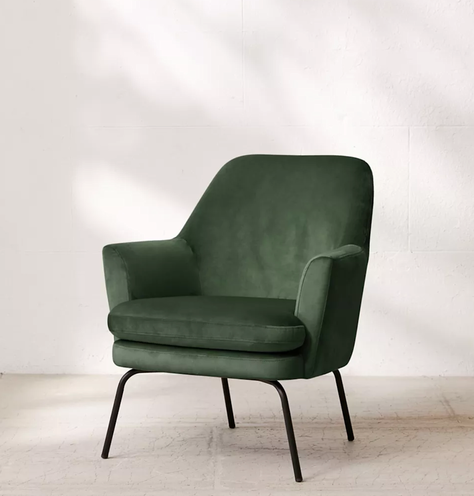 """<br><br><strong>Urban Outfitters</strong> Chloe Velvet Arm Chair, $, available at <a href=""""https://go.skimresources.com/?id=30283X879131&url=https%3A%2F%2Fwww.urbanoutfitters.com%2Fshop%2Fchloe-velvet-arm-chair"""" rel=""""nofollow noopener"""" target=""""_blank"""" data-ylk=""""slk:Urban Outfitters"""" class=""""link rapid-noclick-resp"""">Urban Outfitters</a>"""