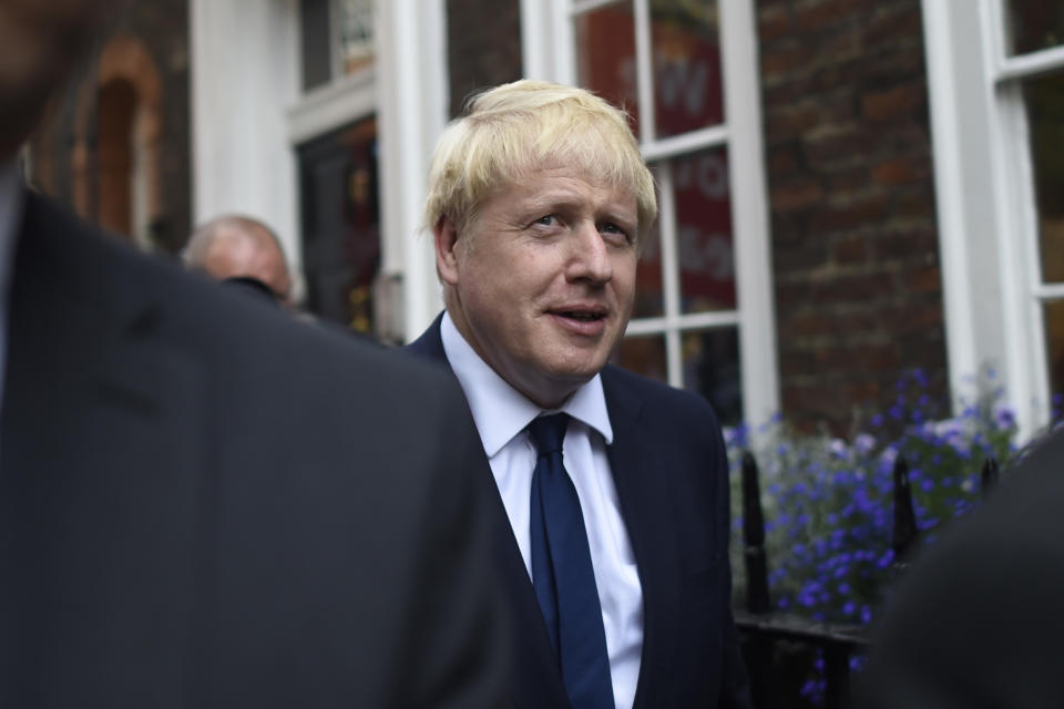 LONDON, ENGLAND - JULY 22: Conservative leadership favourite Boris Johnson leaves his office on July 22, 2019 in London, England. The results of the leadership campaign will be announced on July 23 with the new Prime Minister taking office the following day. (Photo by Peter Summers/Getty Images)