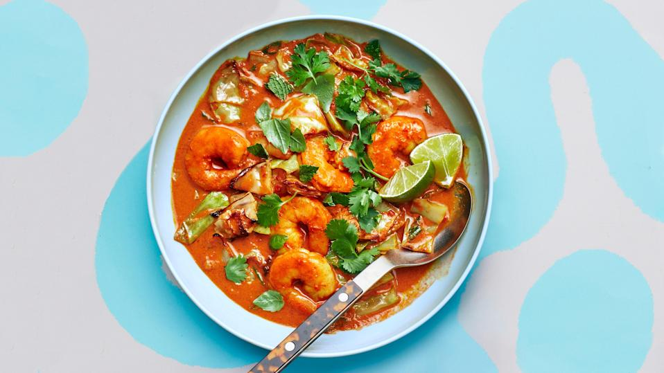 """<a href=""""https://www.bonappetit.com/recipe/shrimp-and-cabbage-curry?mbid=synd_yahoo_rss"""" rel=""""nofollow noopener"""" target=""""_blank"""" data-ylk=""""slk:See recipe."""" class=""""link rapid-noclick-resp"""">See recipe.</a>"""