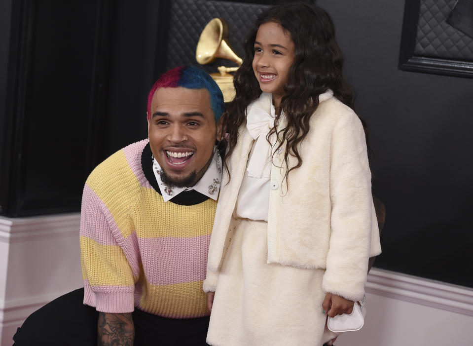 Chris Brown and daughter Royalty Brown at the 2020 Grammy Awards. (AP)