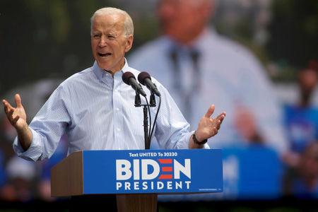 FILE PHOTO: Democratic 2020 U.S. presidential candidate and former Vice President Joe Biden speaks during a campaign stop in Philadelphia, Pennsylvania, U.S., May 18, 2019. REUTERS/Mark Makela/File Photo