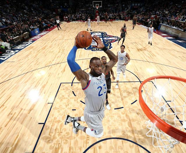"Four-time NBA MVP <a class=""link rapid-noclick-resp"" href=""/nba/players/3704/"" data-ylk=""slk:LeBron James"">LeBron James</a> will serve as a captain in his 14th All-Star Game appearance. (Getty Images)"