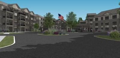 Rendering of Traditions at Rivertown, a senior housing complex near Grand Rapids, Michigan