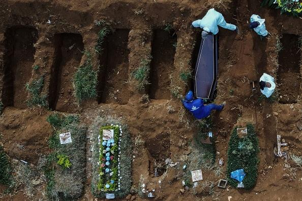 An aerial picture shows grave diggers burying an alleged COVID-19 victim at the Vila Formosa Cemetery, in the outskirts of Sao Paulo, Brazil.