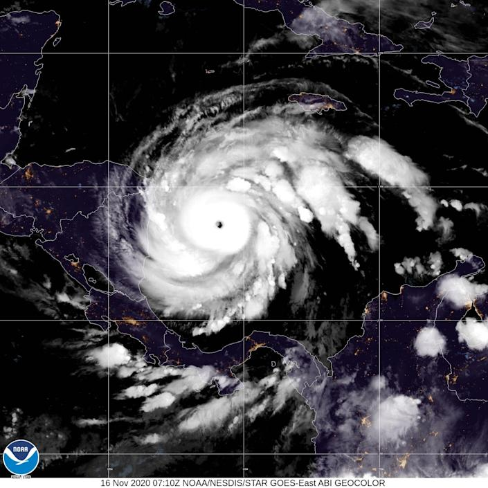 This NOAA/GOES satellite image shows Hurricane Iota on November 16, 2020 at 07:10Z as it approaches Central America.