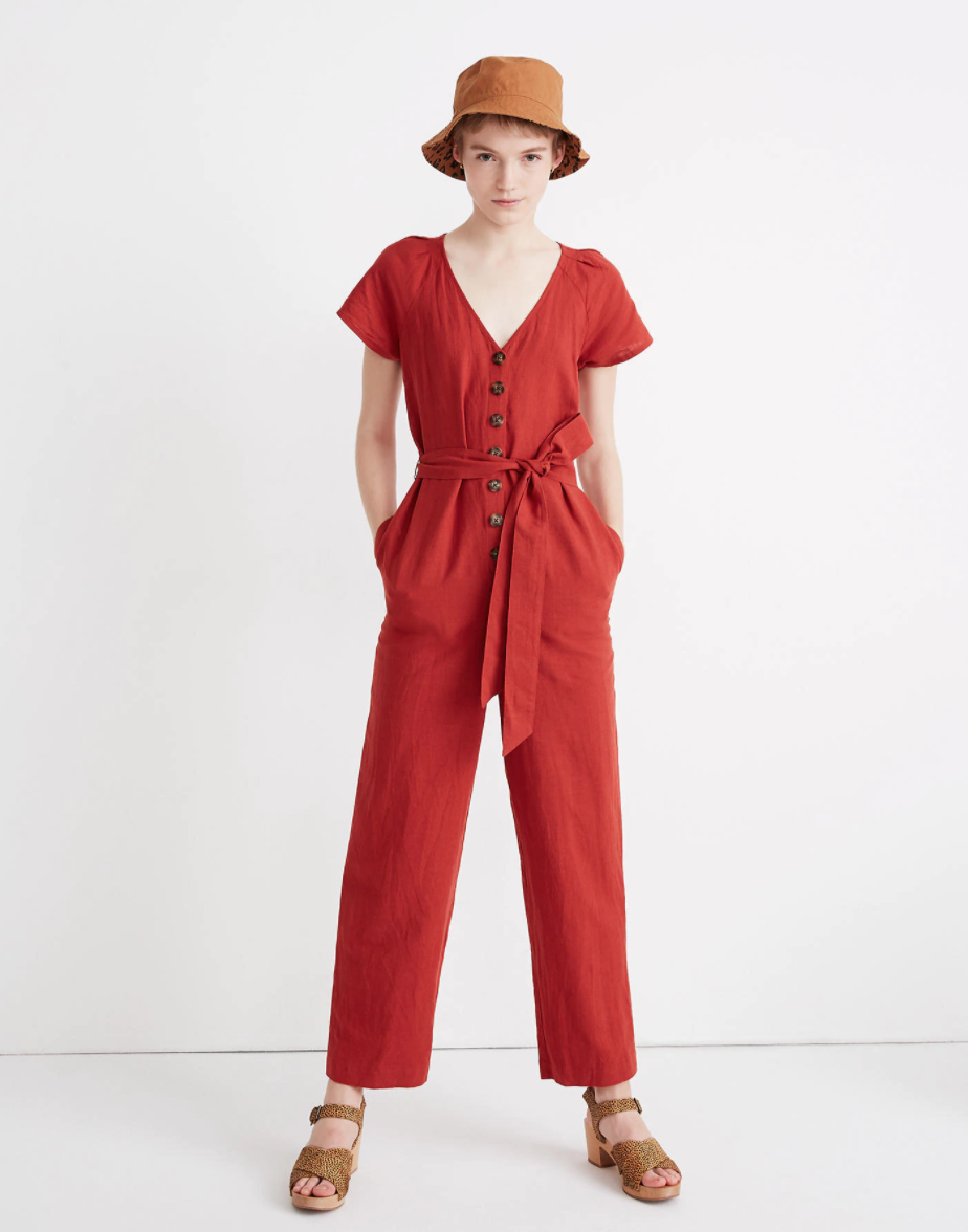 """A fire-engine red button-front jumpsuit in a breathable linen blend is the ultimate one-and-done summer outfit. Madewell's got the motherlode of top-selling linen duds — everything from breezy tops to throw-on-and-go dresses. <br><br><em>Shop linen at</em><strong><em> <a href=""""https://www.madewell.com/womens?q=linen"""" rel=""""nofollow noopener"""" target=""""_blank"""" data-ylk=""""slk:Madewell"""" class=""""link rapid-noclick-resp"""">Madewell</a></em></strong><br><br><strong>Madewell</strong> Linen-Cotton Pleat-Sleeve Jumpsuit, $, available at <a href=""""https://go.skimresources.com/?id=30283X879131&url=https%3A%2F%2Fwww.madewell.com%2Flinen-cotton-pleat-sleeve-jumpsuit-AL319.html"""" rel=""""nofollow noopener"""" target=""""_blank"""" data-ylk=""""slk:Madewell"""" class=""""link rapid-noclick-resp"""">Madewell</a><br><br>"""