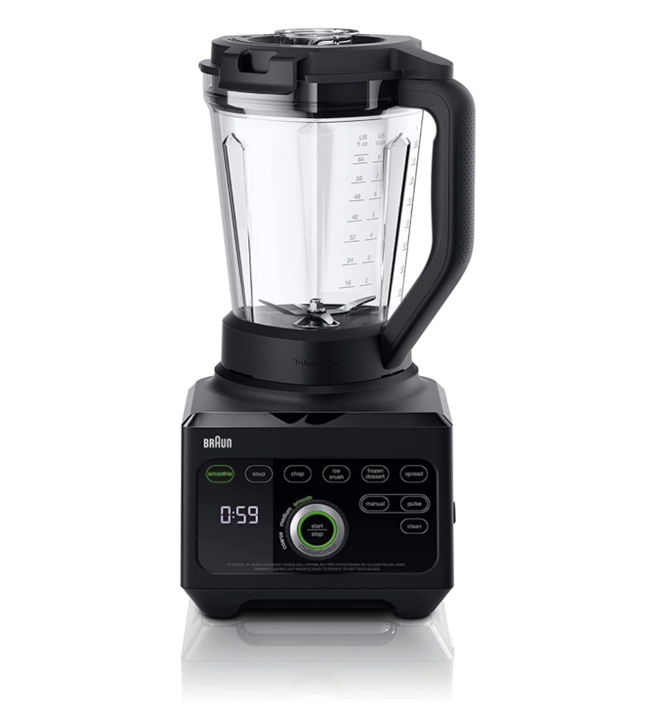 black Braun TriForce Power Blender with black body and clock