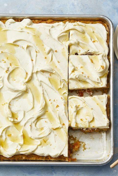 """<p>If you're not fully confident in your baking skills, try an easy sheet pan cake — this one is especially great if you prefer to make it ahead of time.</p><p><em><strong>Get the recipe at <a href=""""https://www.goodhousekeeping.com/food-recipes/dessert/a30996763/carrot-sheet-cake-recipe/"""" rel=""""nofollow noopener"""" target=""""_blank"""" data-ylk=""""slk:Good Housekeeping"""" class=""""link rapid-noclick-resp"""">Good Housekeeping</a>.</strong></em></p>"""