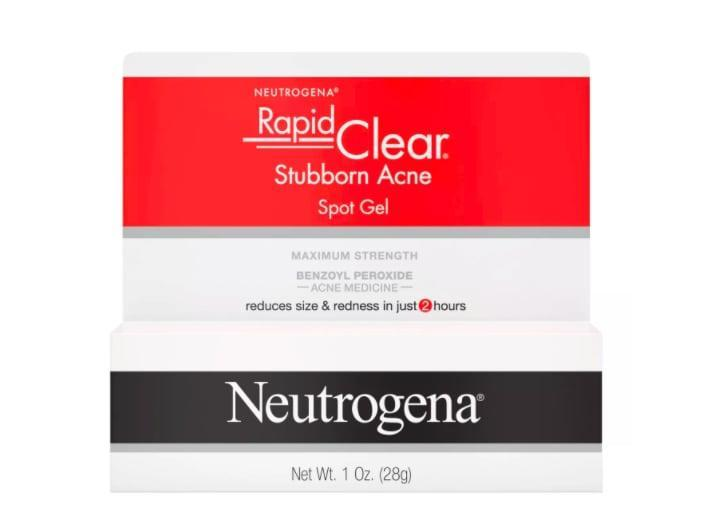 """<p>Benzoyl peroxide, a potent acne fighter, is the main ingredient in <a href=""""https://www.popsugar.com/buy/Neutrogena-Rapid-Clear-Stubborn-Acne-Medicine-Spot-Treatment-Gel-588612?p_name=Neutrogena%20Rapid%20Clear%20Stubborn%20Acne%20Medicine%20Spot%20Treatment%20Gel&retailer=target.com&pid=588612&price=7&evar1=bella%3Auk&evar9=30490550&evar98=https%3A%2F%2Fwww.popsugar.com%2Fbeauty%2Fphoto-gallery%2F30490550%2Fimage%2F30833331%2FAcne-Products-Neutrogena-Rapid-Clear-Stubborn-Acne-Medicine-Spot-Treatment-Gel&list1=hair%2Cmakeup%2Cbeauty%20products%2Cacne%2Cburts%20bees%2Cbeauty%20shopping%2Cdrugstore%20beauty%2Cskin%20care&prop13=api&pdata=1"""" class=""""link rapid-noclick-resp"""" rel=""""nofollow noopener"""" target=""""_blank"""" data-ylk=""""slk:Neutrogena Rapid Clear Stubborn Acne Medicine Spot Treatment Gel"""">Neutrogena Rapid Clear Stubborn Acne Medicine Spot Treatment Gel</a> ($7), which is excellent for clearing up the occasional spot.</p>"""