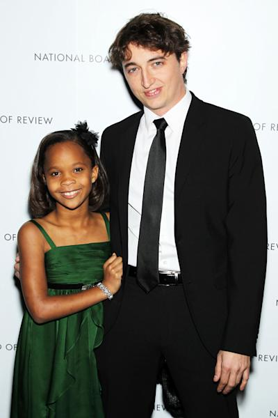 """This Jan. 8, 2013 photo released by Starpix shows actress Quvenzhane Wallis, left, and director Benh Zeitlin at the National Board of Review awards gala in New York. Wallis was nominated for an Academy Award on Thursday, Jan. 10, 2013, for best actress for the film, """"Beasts of the Southern Wild"""". Zeitlin was also nominated for best director. The 85th Academy Awards will air live on Sunday, Feb. 24, 2013 on ABC. (AP Photo/Starpix, Marion Curtis)"""