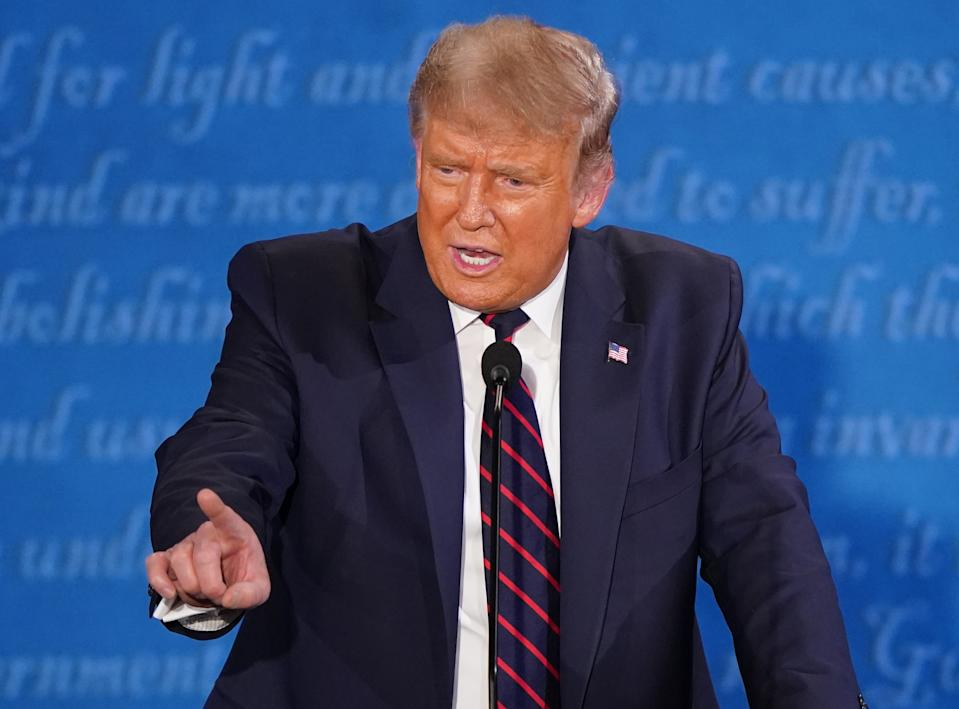 U.S. President Donald Trump speaks during the first U.S. presidential debate hosted by Case Western Reserve University and the Cleveland Clinic in Cleveland, Ohio, U.S., on Tuesday, Sept. 29, 2020. (Kevin Dietsch/UPI/Bloomberg via Getty Images)