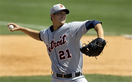 Detroit Tigers starting pitcher Rick Porcello throws during the sixth inning of an exhibition spring training baseball game against the Miami Marlins Monday, March 25, 2013, in Jupiter, Fla. (AP Photo/Jeff Roberson)