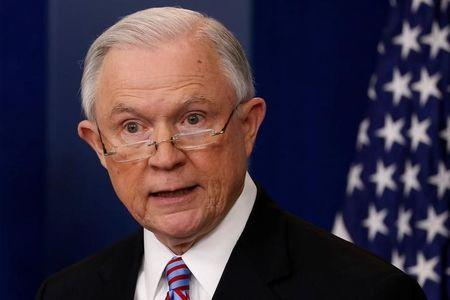 El Fiscal General de Estados Unidos, Jeff Sessions, en su rueda de prensa diaria en Washington