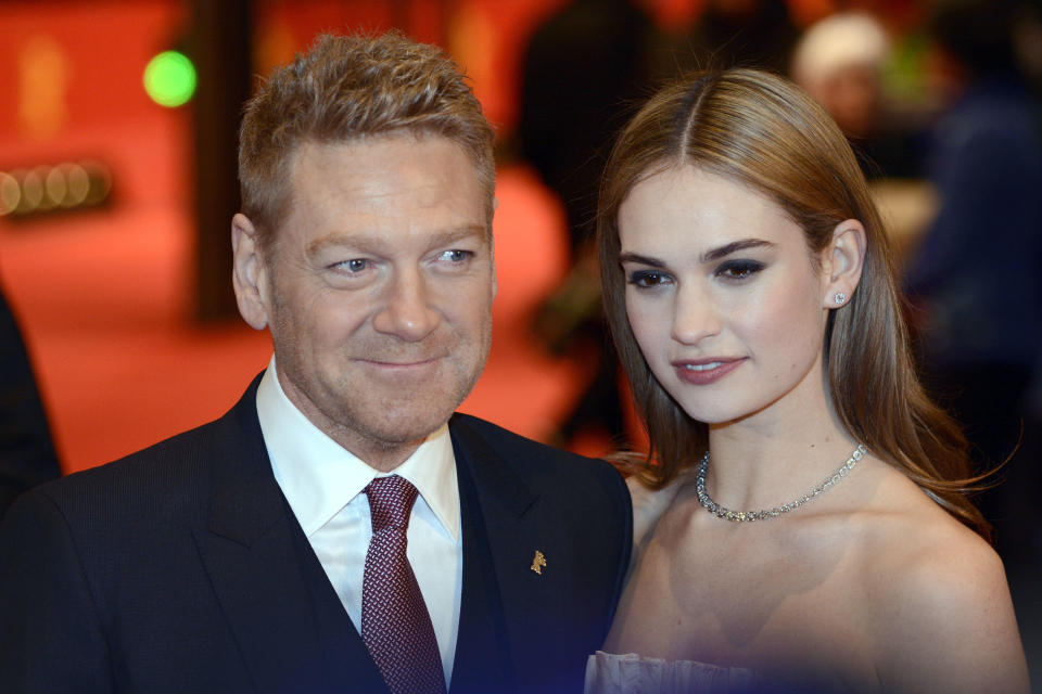 Kenneth Branagh and Lily James attending the 'Cinderella' premiere at the 65th Berlin International Film Festival / Berlinale 2015 on February 13, 2015. *** Please Use Credit from Credit Field ***