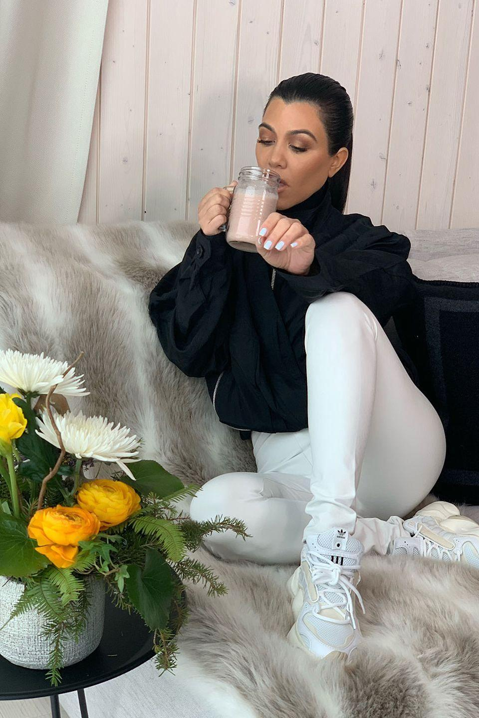 """<p>Kourtney writes on her site, <a href=""""https://poosh.com/kourtney-kardashian-daily-tonics-supplements/"""" rel=""""nofollow noopener"""" target=""""_blank"""" data-ylk=""""slk:Poosh"""" class=""""link rapid-noclick-resp"""">Poosh</a>, that she starts off every day with a cup of <a href=""""https://shop.poosh.com/products/vital-proteins-x-poosh-blueberry-lemon-collagen-vibes"""" rel=""""nofollow noopener"""" target=""""_blank"""" data-ylk=""""slk:Collagen Vibes"""" class=""""link rapid-noclick-resp"""">Collagen Vibes</a>, which contains protein, vitamin C, and is also super nourishing for your hair and nails. </p>"""