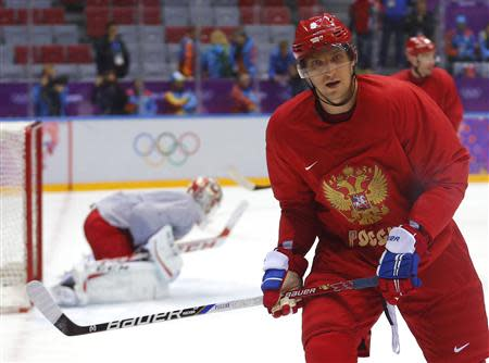 Team Russia's forward Alexander Ovechkin attends team practice in the Bolshoy Ice Dome at the 2014 Sochi Winter Olympics