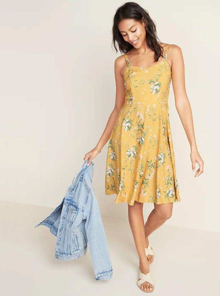 <p>The <span>Floral-Print Fit &amp; Flare Ruffle-Hem Cami Dress </span> ($35) will look just as cute with sneakers for casual hangs, as with strappy sandals for brunch dates.</p>