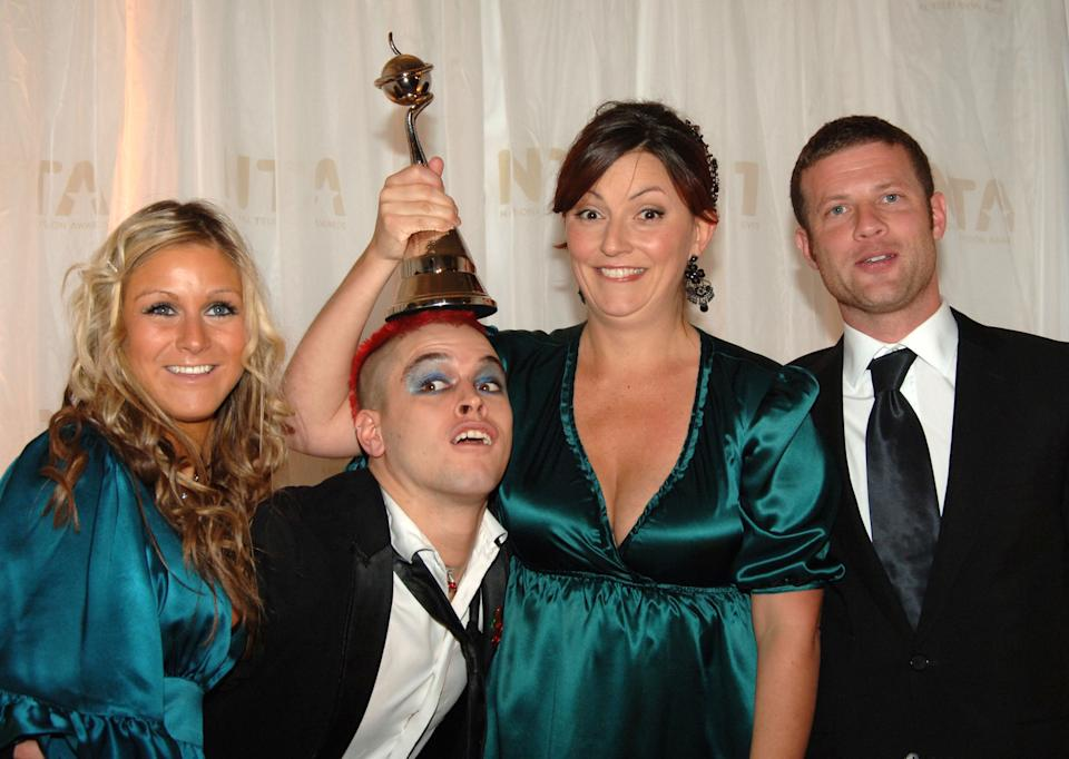 Nikki Grahame, Pete Bennett, Davina McCall and Dermot O'Leary with award for Most Popular Reality Programme at the National Television Awards 2006 at the Royal Albert Hall in west London.