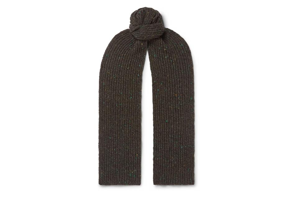 "$295, Mr Porter. <a href=""https://www.mrporter.com/en-us/mens/product/inis-meain/accessories/wool-scarves/ribbed-melange-merino-wool-and-cashmere-blend-scarf/30049528927139482"" rel=""nofollow noopener"" target=""_blank"" data-ylk=""slk:Get it now!"" class=""link rapid-noclick-resp"">Get it now!</a>"