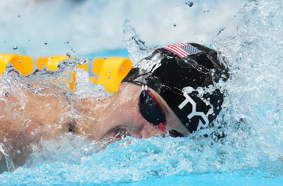 Katie Ledecky races in the women's 400-meter freestyle final during the Tokyo 2020 Olympic Summer Games at Tokyo Aquatics Centre.