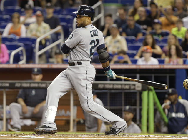 Seattle Mariners' Robinson Cano watches after hitting a single during the first inning of an interleague baseball game against the Miami Marlins, Friday, April 18, 2014, in Miami. (AP Photo/Lynne Sladky)