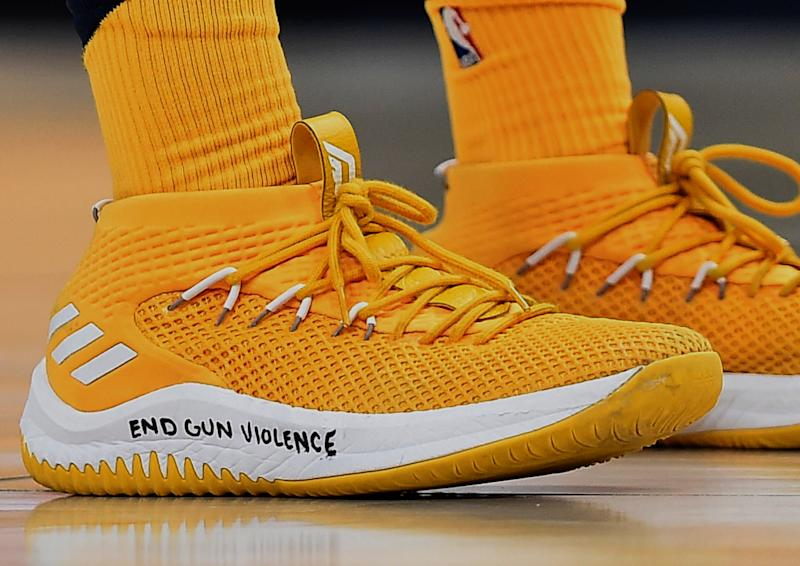 Shoes worn by Donovan Mitchell of the Utah Jazz during the second half of a game against the Phoenix Suns at Vivint Smart Home Arena on February 14, 2018, in Salt Lake City. (Gene Sweeney Jr. via Getty Images)