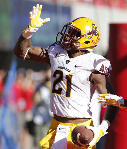 Arizona State wide receiver Jaelen Strong (21) celebrates after scoring a touchdown during the first half of an NCAA college football game against Arizona, Friday, Nov. 28, 2014, in Tucson, Ariz. (AP Photo/Rick Scuteri)