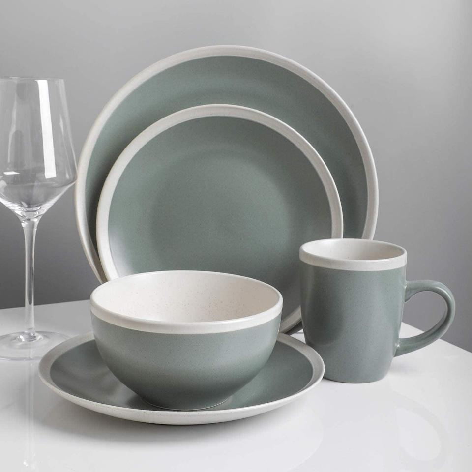 <p>Revamp your dining set with this <span>Stone Lain Dinnerware Set, 16 Piece, Green and Cream</span> ($55).</p>