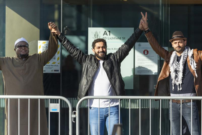Survivors gesture outside the High Court in Christchurch, New Zealand, Thursday, August 27, 2020. Source: AAP