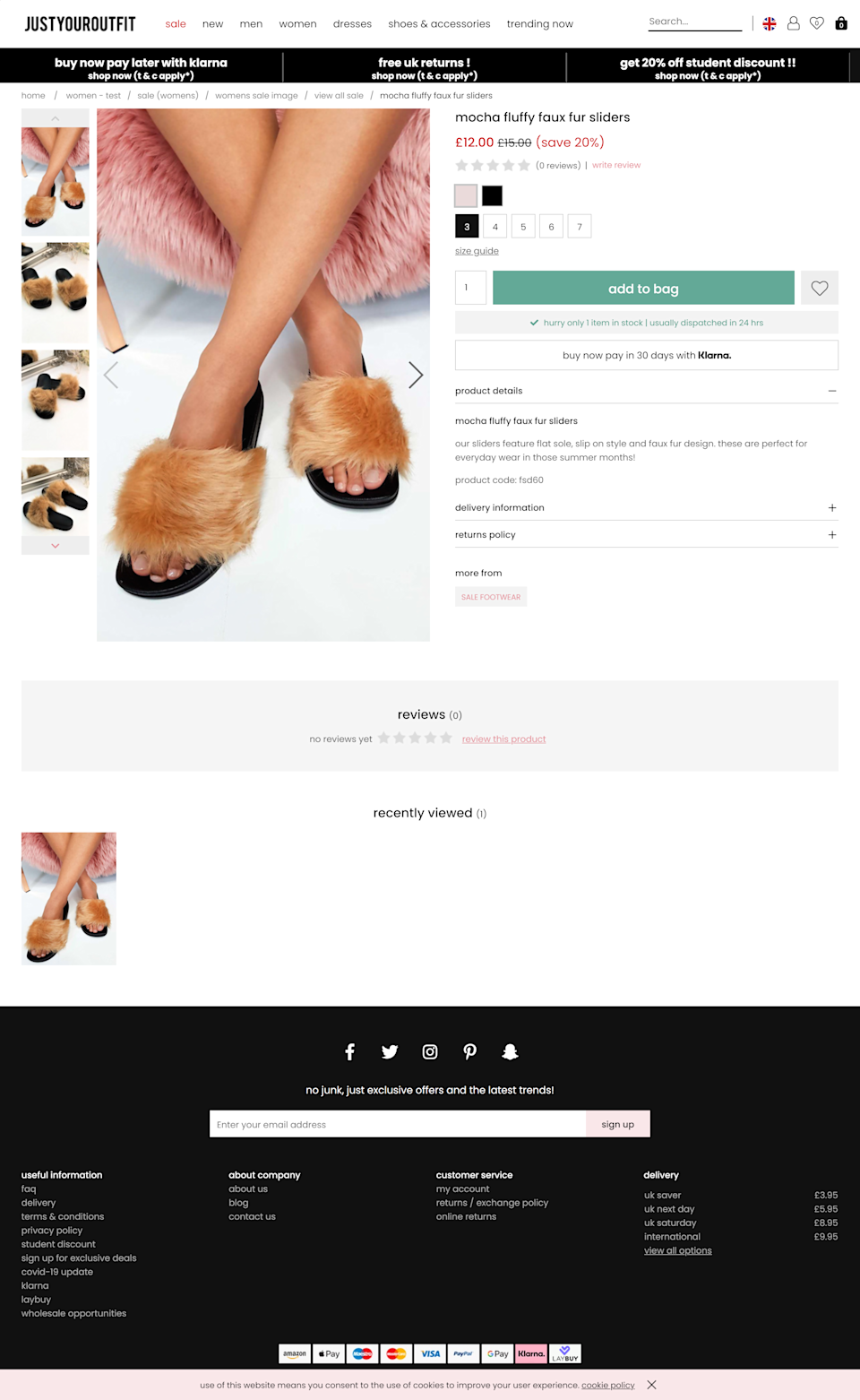 An ad for 'faux fur' sliders on the Just Your Website which was investigated by the ASA (ASA/PA)