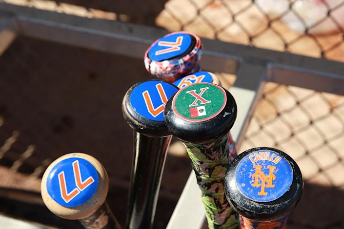 <p>New York Mets players' bats in a rack during batting practice at the Mets spring training facility in Port St. Lucie, Fla., on Sunday, Feb. 26, 2017. (Gordon Donovan/Yahoo Sports) </p>