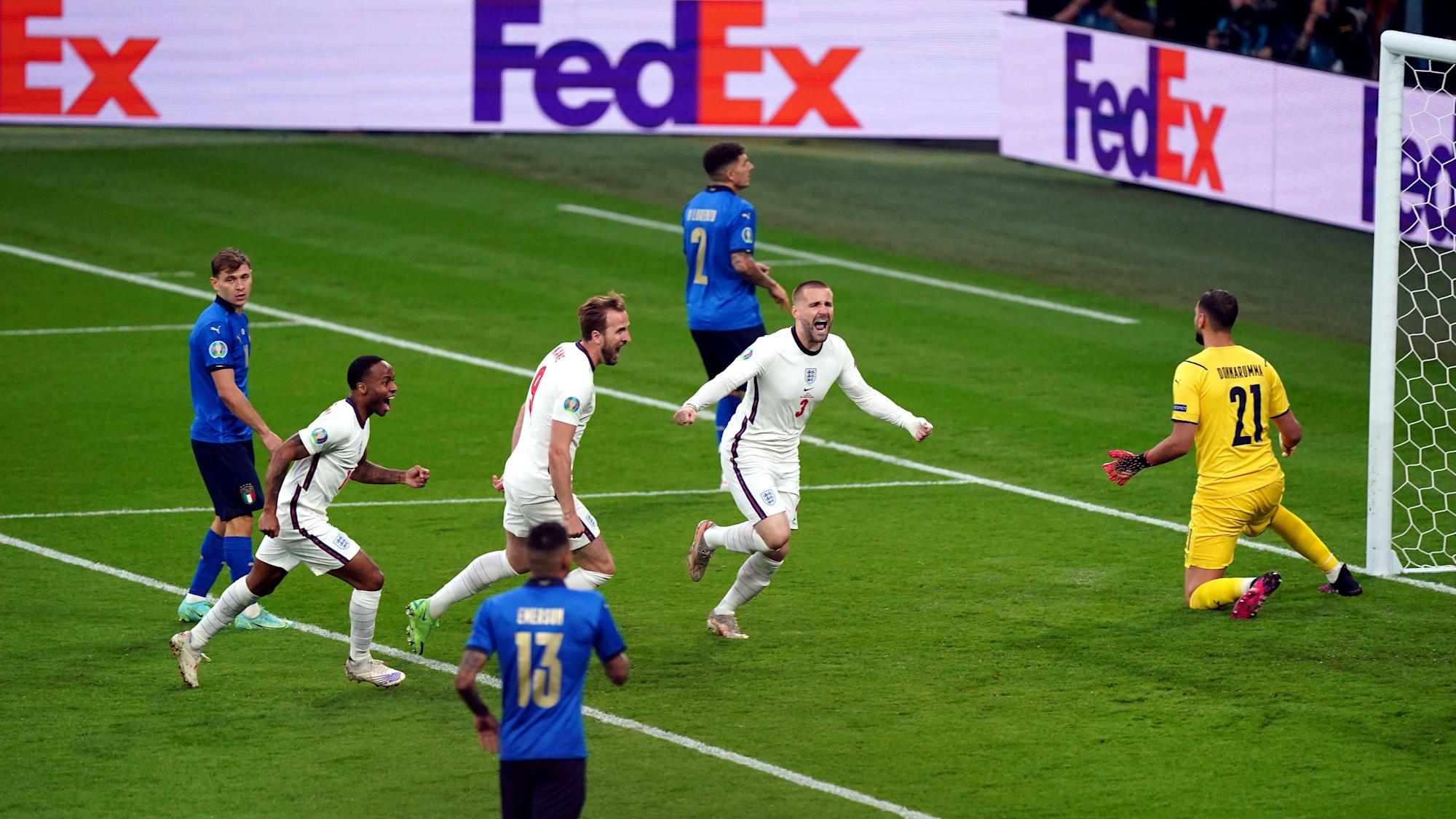Luke Shaw goal gives England early lead in Euro 2020 final – live!