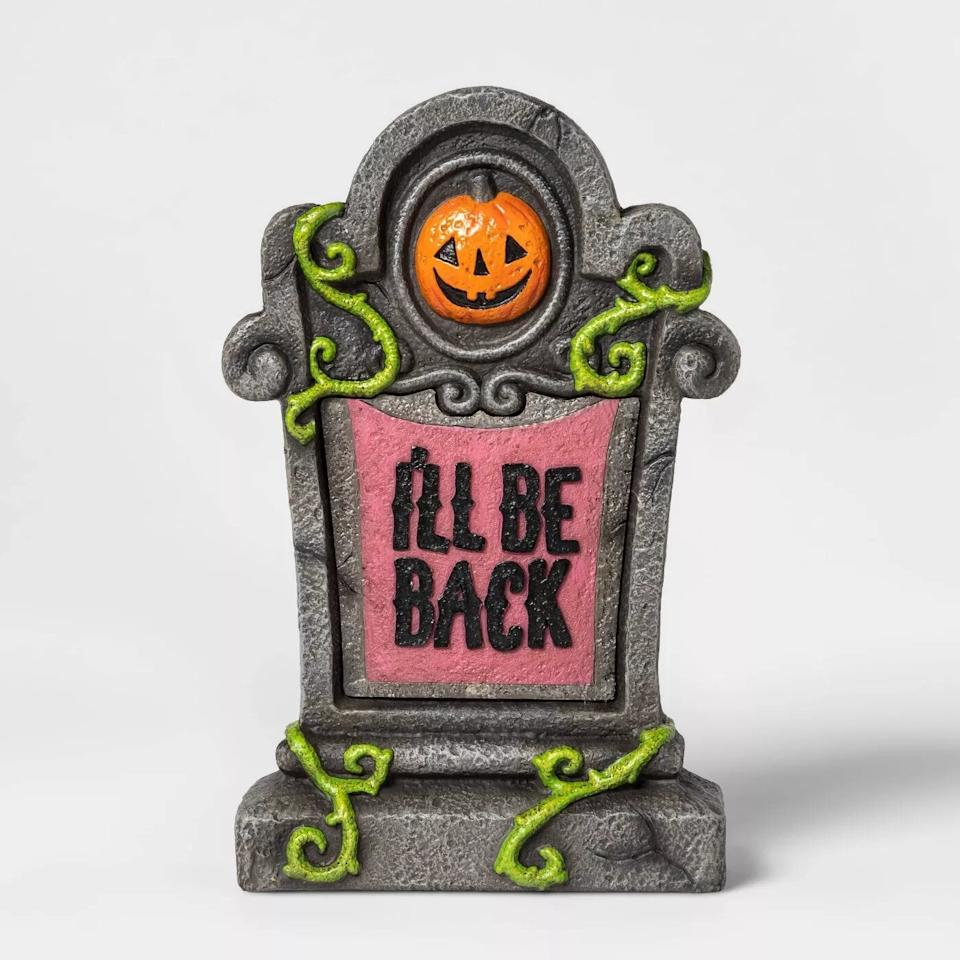 """<p>This <a href=""""https://www.popsugar.com/buy/Lit-Ill-Back-Halloween-Tombstone-D%C3%A9cor-491559?p_name=Lit%20I%27ll%20Be%20Back%20Halloween%20Tombstone%20D%C3%A9cor&retailer=target.com&pid=491559&price=20&evar1=casa%3Aus&evar9=46628527&evar98=https%3A%2F%2Fwww.popsugar.com%2Fhome%2Fphoto-gallery%2F46628527%2Fimage%2F46628528%2FLit-Ill-Be-Back-Halloween-Tombstone-D%C3%A9cor&list1=halloween%2Challoween%20decor&prop13=api&pdata=1"""" rel=""""nofollow"""" data-shoppable-link=""""1"""" target=""""_blank"""" class=""""ga-track"""" data-ga-category=""""Related"""" data-ga-label=""""http://www.target.com/p/lit-i-39-ll-be-back-halloween-tombstone-d-233-cor-hyde-38-eek-boutique-8482/-/A-54341834"""" data-ga-action=""""In-Line Links"""">Lit I'll Be Back Halloween Tombstone Décor</a> ($20) from <a href=""""https://www.popsugar.com/family/Target-Halloween-Decorations-2019-46356115"""" class=""""ga-track"""" data-ga-category=""""Related"""" data-ga-label=""""http://www.popsugar.com/family/Target-Halloween-Decorations-2019-46356115"""" data-ga-action=""""In-Line Links"""">Target's Hyde and EEK! Boutique collection</a> has a gritty and vined gray frame with a pink panel for a cute touch.</p>"""