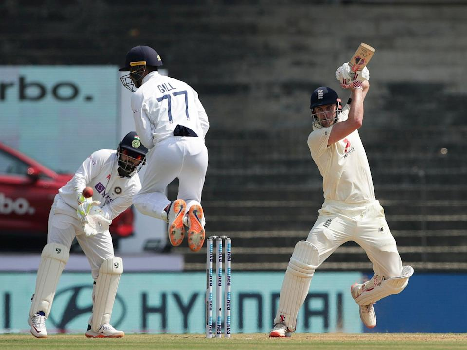 <p>Dom Sibley of England scoring a boundary during day one</p> (ECB)