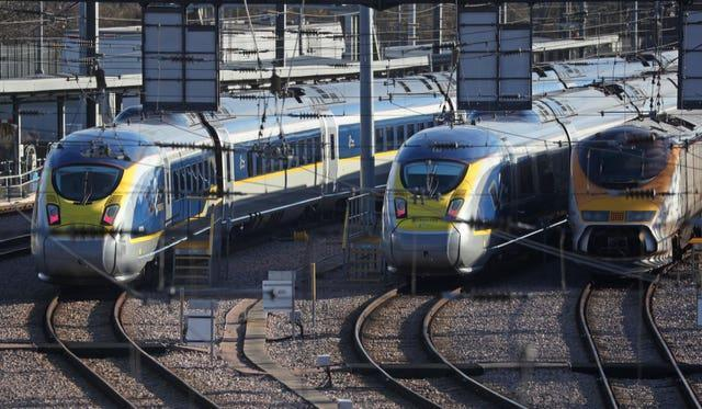 Eurostar trains are being stored at an engineering centre in east London (PA/Jonathan Brady)