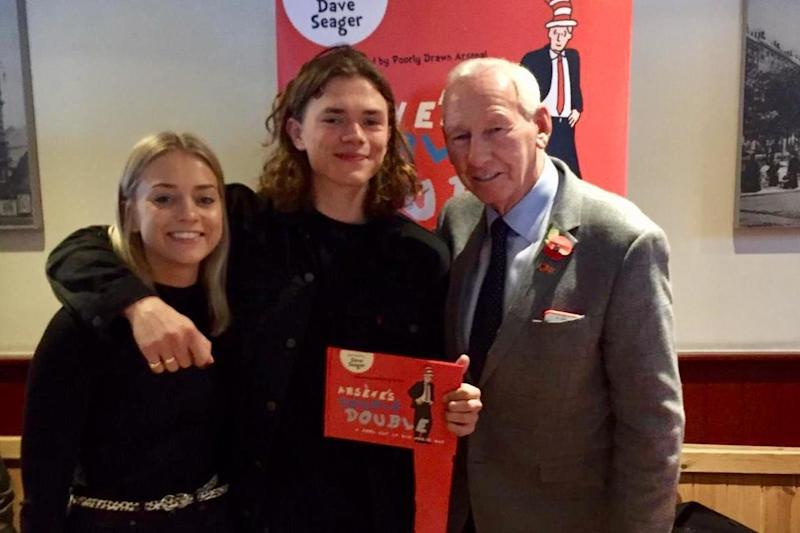 Liam with Bob Wilson and his sister Bethan at the launch of Arsene's Double Double