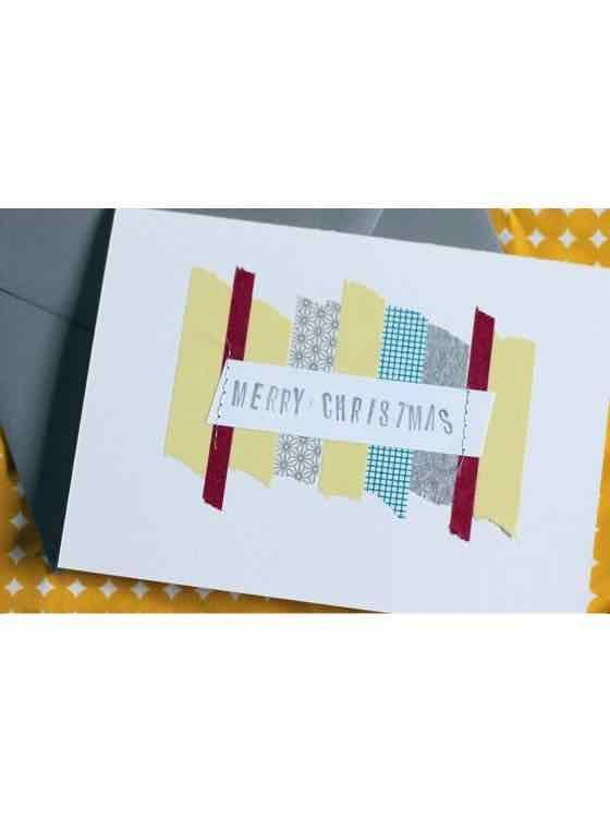 """<p>In a major time crunch? Use washi tape to create simple designs on blank cardstock, then stamp on the seasonal greeting of your choice. </p><p><em>Get the tutorial at <a href=""""https://sarahhearts.com/diy-holiday-and-christmas-cards/"""" rel=""""nofollow noopener"""" target=""""_blank"""" data-ylk=""""slk:Sarah Hearts"""" class=""""link rapid-noclick-resp"""">Sarah Hearts</a>.</em></p><p><a class=""""link rapid-noclick-resp"""" href=""""https://www.amazon.com/Benvo-Christmas-Collection-Decorations-Scrapbooking/dp/B07K411HR4?tag=syn-yahoo-20&ascsubtag=%5Bartid%7C10072.g.34351112%5Bsrc%7Cyahoo-us"""" rel=""""nofollow noopener"""" target=""""_blank"""" data-ylk=""""slk:SHOP WASHI TAPE"""">SHOP WASHI TAPE</a></p>"""