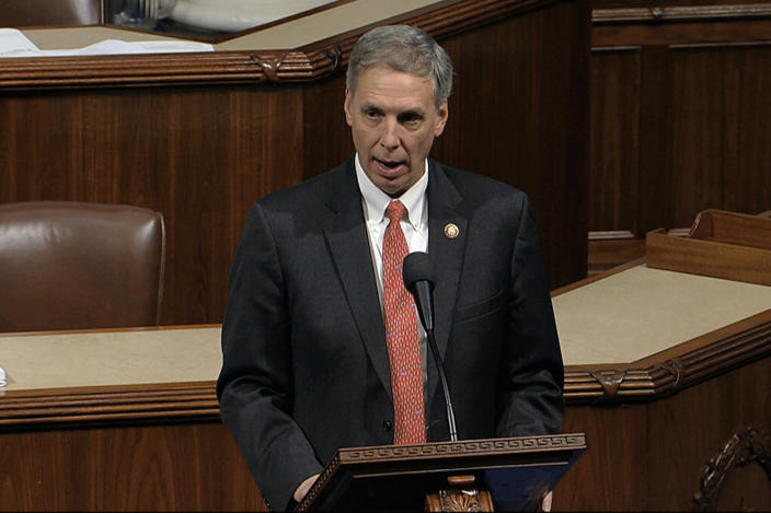 FILE - In this Dec. 18, 2019, file photo, taken from video, Rep. Tom Rice, R-S.C., speaks as the House of Representatives debates the articles of impeachment against President Donald Trump at the Capitol in Washington. Rice was one of only 10 House Republican on Wednesday, Jan. 13, 2021 to join with Democrats in voting to impeach President Trump, a stunning reversal from his position just days earlier. (House Television via AP, File)