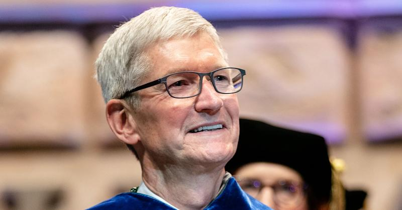 Apple CEO Tim Cook attends Tulane University's Commencement 2019 at Mercedes-Benz Superdome on May 18, 2019 in New Orleans, Louisiana.