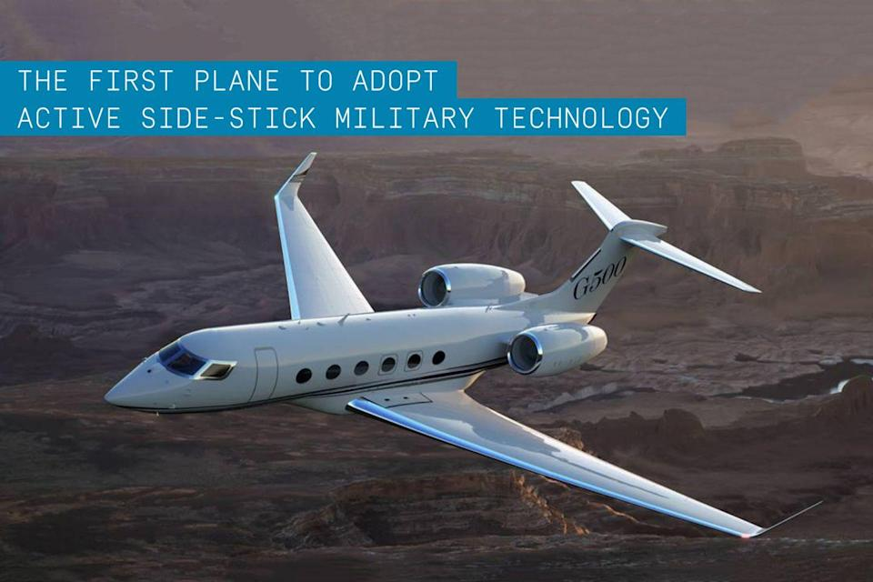 """<p>This private business jet, announced alongside its sister ship the G600 in fall 2014, features <a href=""""https://www.popularmechanics.com/military/aviation/a13150405/five-things-the-air-force-invented/"""" rel=""""nofollow noopener"""" target=""""_blank"""" data-ylk=""""slk:fly-by-wire"""" class=""""link rapid-noclick-resp"""">fly-by-wire</a> active side-stick that provides visual and tactile feedback for the flight crew—technology previously available only for military aircraft. This feedback through the flight control stick allows both the pilot and copilot to track and feel the controls of each other and the autopilot. </p><p>Flight instruments are brilliantly displayed by Honeywell's Symmetry flight deck. There are 10 touchscreen controllers providing pilots with a tremendous amount of flight information. The integrated touchscreens will give crew access to system controls, flight management, communications, checklists, and monitoring weather and flight information. </p><p>A <a href=""""https://www.popularmechanics.com/flight/airlines/a32972180/winglet-history/"""" rel=""""nofollow noopener"""" target=""""_blank"""" data-ylk=""""slk:new wing design"""" class=""""link rapid-noclick-resp"""">new wing design</a> manufactured in-house at <a href=""""https://www.popularmechanics.com/military/aviation/a23066191/b-52-bombers-fly-until-the-2050s/"""" rel=""""nofollow noopener"""" target=""""_blank"""" data-ylk=""""slk:Gulfstream"""" class=""""link rapid-noclick-resp"""">Gulfstream </a>for the first time provides increased performance and passenger comfort. The G500 made its maiden flight earlier in 2015 demonstrating an unprecedented level of technology not only delivering a more fuel efficient, fast aircraft but improvements in safety as well.</p>"""