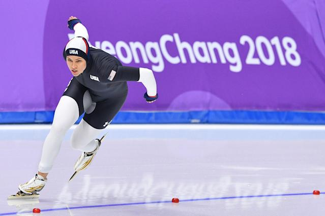 <p>USA's Brittany Bowe competes in the women's 1,000m speed skating event during the Pyeongchang 2018 Winter Olympic Games at the Gangneung Oval in Gangneung on February 14, 2018. / AFP PHOTO / Mladen ANTONOV </p>