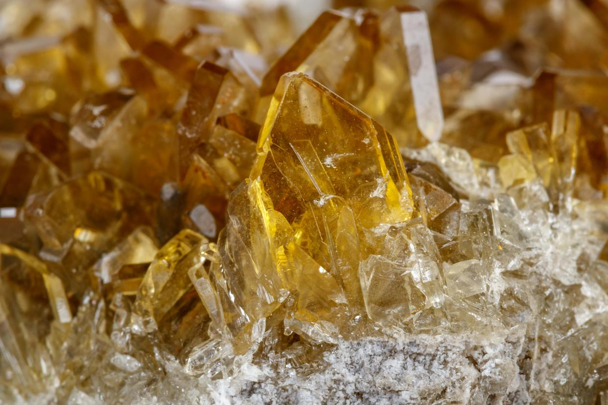 Barite crystals are seen in a close-up image (Getty)