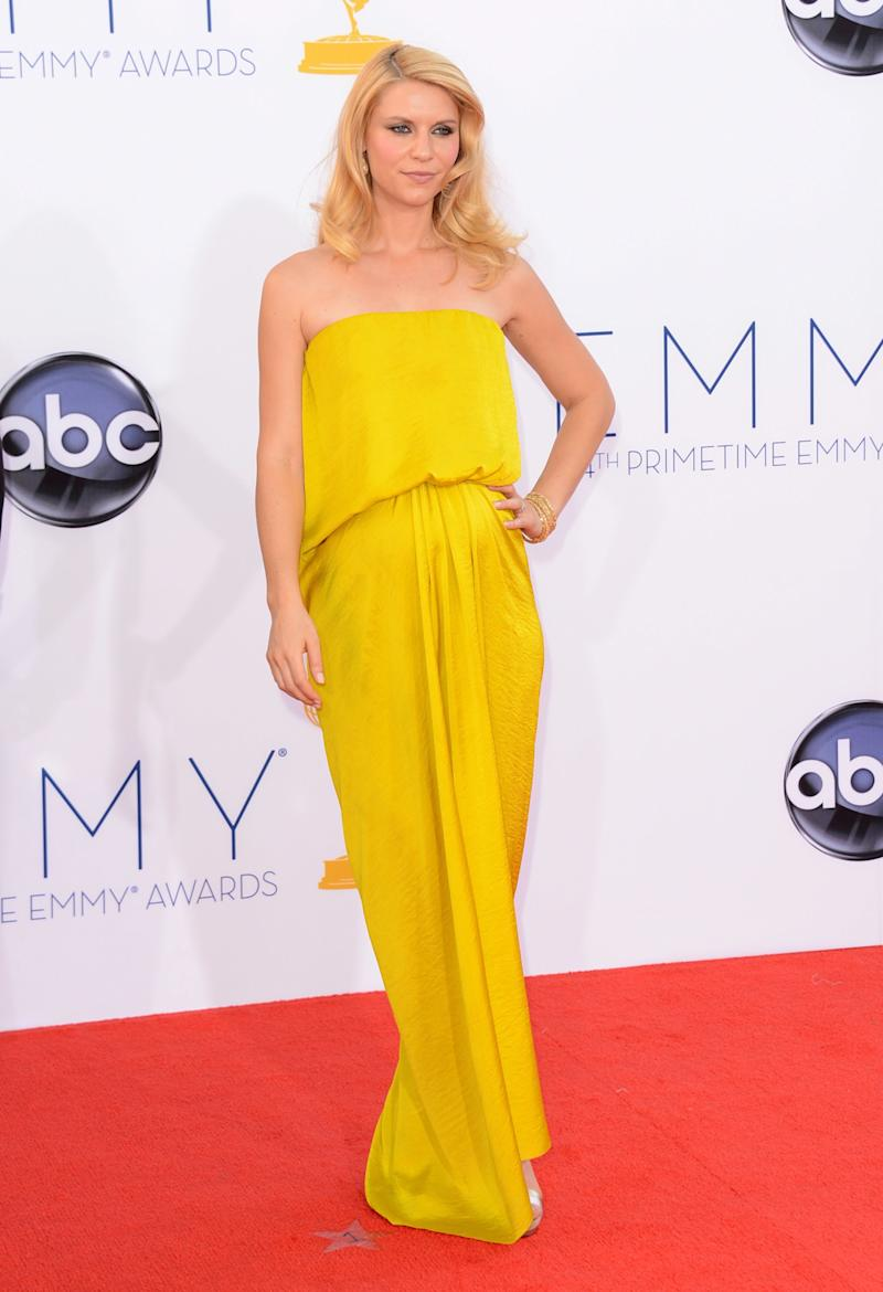A pregnant Claire Danes, in Lanvin, arrives at the 64th Primetime Emmy Awards at Nokia Theatre L.A. Live on September 23, 2012 in Los Angeles, California.