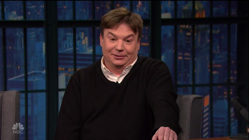 Mike Myers during an appearance on NBC's 'Late Night with Seth Meyers.' (Credit: WENN/NBC)