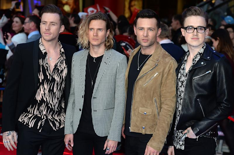 McFly (left to right) Dougie Poynter, Danny Jones, Harry Judd and Tom Fletcher arriving for the Captain America: Civil War European Premiere at the Vue Westfield, London. Tuesday 26th April 2016. Picture Credit Doug Peters EMPICS Entertainment