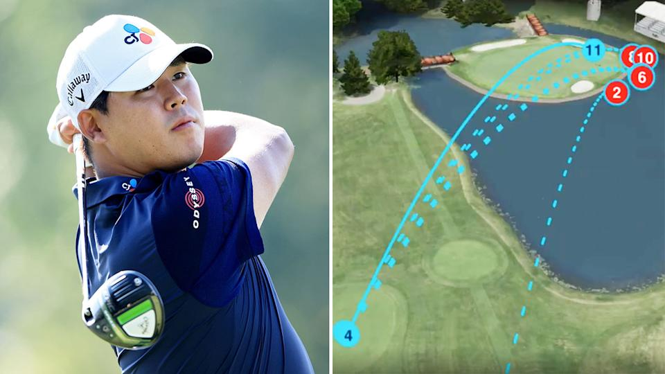 Si Woo Kim's 13 on a par-three set an ugly 38-year first on the PGA Tour. Pic: Getty/PGA Tour