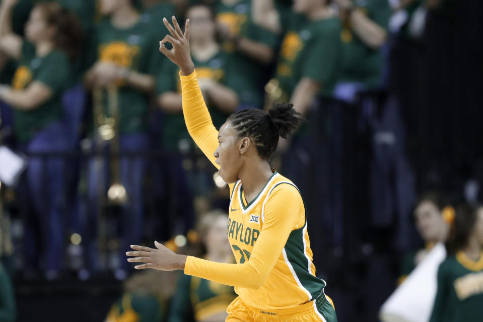 Baylor guard Juicy Landrum (20) celebrates sinking a three-point basket in the first half of an NCAA college basketball game against New Hampshire in Waco, Texas, Tuesday, Nov. 5, 2019. (AP Photo/Tony Gutierrez)